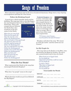 Black History Month Fourth Grade History Worksheets: Underground Railroad Songs