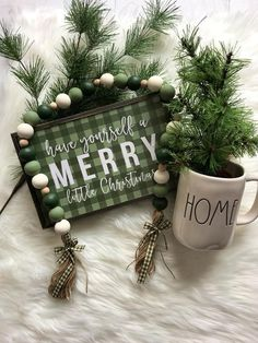 Your place to buy and sell all things handmade : Excited to share this item from my shop: Green Ombré Farmhouse Wooden Bead Garland Christmas Bead Garland, Diy Garland, Beaded Garland, Noel Christmas, Green Christmas, Christmas Signs, Diy Christmas Gifts, Christmas Projects, Shabby Chic Christmas