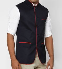 Nehru Jacket with red piping and pocket strips Waistcoat Designs, Waistcoat Men, Mens Fashion Summer Outfits, Mens Fashion Suits, Half Jacket, Jacket Style, Bride Reception Dresses, Gilet Costume, Indian Men Fashion