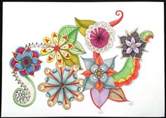 coloured flower drawing