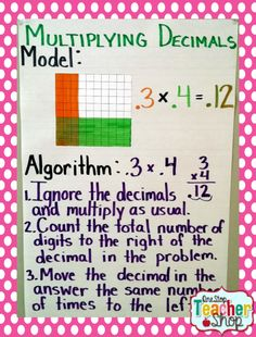 Multiplying Decimals anchor chart: LOTS of great math (and reading) anchor charts here. Be ready for next year by making a few of these easy-to-make charts!
