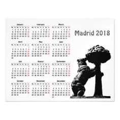 Madrid Spain 2018 calendar magnetic card - diy cyo customize create your own personalize
