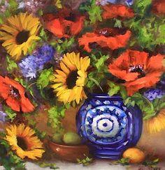 Garden Medley Sunflowers and Poppies by Texas Flower Artist Nancy Medina, painting by artist Nancy Medina