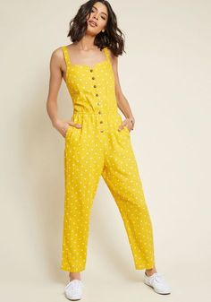 Every Waking Momentum Cotton-Linen Jumpsuit in Yellow Dotted - Once you're buttoned into this polka dot jumpsuit, your day will really get going! A pocketed piece from our ModCloth namesake label, this cotton-linen blend jumpsuit will highlight your energetic aura with its bright yellow and white color scheme, adjustable straps, and awesomely elasticized waist. Wowzers!