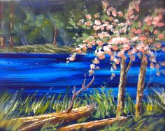 Apple Blossom Creek a two part lesson in painting water, logs and trees. Originally a 3 hr. video I simplified this for me Wed. am live classes. Spring is here. lets paint. www.gingercooklive.gallery for info on how to sign up for my amazing library of recoded lessons and new stuff every week.