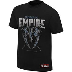 "Roman Reigns ""Roman Empire"" Authentic T-Shirt ❤ liked on Polyvore featuring tops, t-shirts, tee-shirt, cotton shirts, empire t shirts, cotton tees and classic fit t shirt"