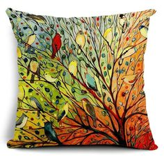 Vintage Cotton Linen Cushion CoverPillow Case Painting of Birds