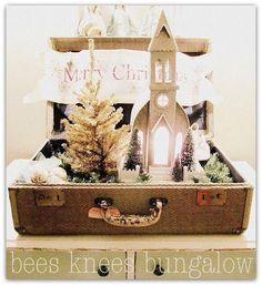 Christmas vintage suitcase