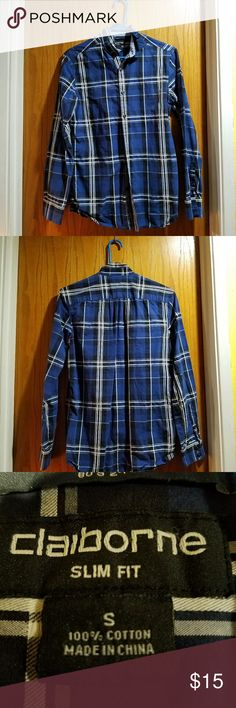 Blue, White and Black Plaid Button Up Great condition only worn a couple of times Liz Claiborne Shirts Casual Button Down Shirts