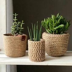 Jute Crafts, Diy And Crafts, Creation Bougie, Diy Bedroom Decor, Diy Home Decor, Rope Decor, Crochet Basket Pattern, Deco Originale, Crochet Home Decor