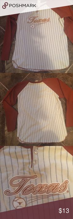 TEXAS Tee Texas Tee good condition sleeve has a raw hem because felt short worn it three times Fits small woman adult has a spec or two in the front but not noticeable just notice holes on the sleeve can be cut to a quarter sleeve Little King Shirts & Tops Tees - Long Sleeve