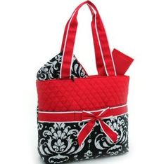 Quilted Damask Print 3 pc Set Diaper Bag w/ Changing Pad & Cosmetic Bag You Choose Color : Blue Black Pink Green or Red