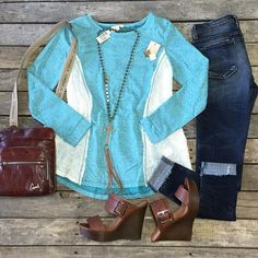 """#NEWARRIVALS  #Patched #Sweater $32.99 S-L #FlyingMonkey #SkinnyJeans $74.99 26-30 #Wedges $29.99 6.5-10 #Consuela #Tawny #Crossbody $275.99 #PinkPanache #Necklace $56.99 & #Earrings $14.99 We #ship! Call to order! 903.322.4316 #shopdcs #goshopdcs #instashop #shopfall #love"" Photo taken by @daviscountrystore on Instagram, pinned via the InstaPin iOS App! http://www.instapinapp.com (10/02/2015)"