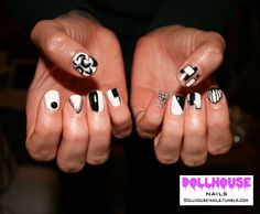 Monocrome 60's nails  See more of my Nail Art at: dollhouse-nails.tumblr.com