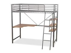 Humza Amani Upton High Sleeper/Study Bunk Bed Frame in Silver Metal Finish High Sleeper, Metal Bunk Beds, Metal Finishes, Silver Metal, Bed Frame, It Is Finished, Study, Modern, Furniture