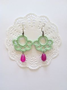 Crochet earrings Peppermint on Etsy, $16.99