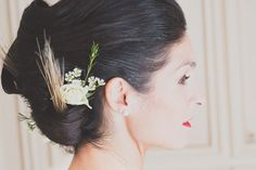 wheat and flowers in this lovely bridal updo!