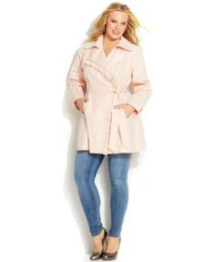 Jessica Simpson Plus Size Ruffled Belted Trench Coat  | macys.com