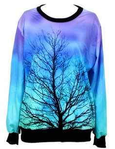 Blue Long Sleeve Moonlight Tree Print Sweatshirt US$31.97