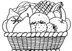 Basket Of Fruits Coloring Pages With Fruit Ideas Gallery Free