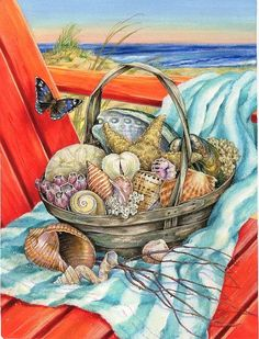 Basket of seashells ~ by Donna Race