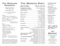 Wedding Agenda Samples