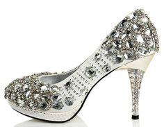 noble luxuriant White crystal wedding shoes highheeled by emma999, $169.00