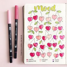 do a mood check every week ? Bullet Journal Tracker, Bullet Journal School, Bullet Journal Banner, Bullet Journal Writing, Bullet Journal Aesthetic, Bullet Journal Ideas Pages, Bullet Journal Spread, Bullet Journal Layout, Bellet Journal