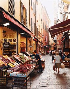 """Bologna's Via Pescherie Vecchie (""""Street of the Old Fisheries"""")......said to be one of Italy's best food markets."""