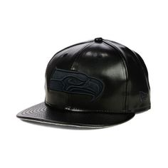 957cc460089 Seattle Seahawks NFL Leather Black on Black 9FIFTY Snapback Cap (98 BRL) ❤  liked on Polyvore featuring accessories