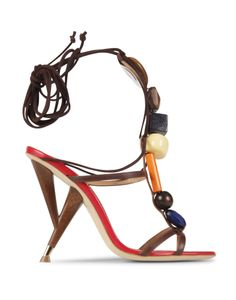 STONES SANDAL - The star accessory from Dsquared2's spring summer runway, these sandals are constructed with a wooden 110mm heel inspired by a 50s table leg. The network of multi-colored beads and the long ankle leather ties create statement heels that are instant outfit makers.