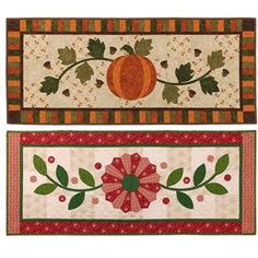 Fall Into Winter offers two table runner patterns. The Dresden pieces for the winter pattern are pre-cut and included!