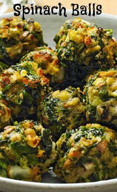 Spinach Balls - Forget mini meatballs—your guests won't be able to stop talking about these spinach ball appetizers. STOVE TOP Stuffing Mix for Chicken 6 oz. cups hot water cup butter or margarine cut up 2 pkg. Diet Recipes, Vegetarian Recipes, Cooking Recipes, Healthy Recipes, Vegan Recipes Plant Based, Lasagna Recipes, Vegetarian Appetizers, Vegetarian Breakfast, Fall Recipes
