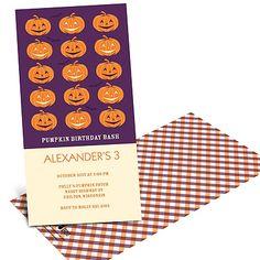 Line-up of Pumpkins -- Halloween Birthday Invitations