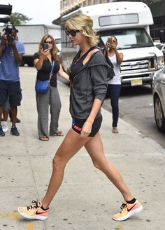Pin for Later: Taylor Swift's Short Shorts Will Inspire You to Do One of Those Squat Challenges