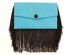 Light blue handmade envelope purse with black fringes Handmade Envelopes, Fringes, Light Blue, Turquoise, Purses, Trending Outfits, Unique Jewelry, Handmade Gifts, My Style