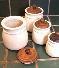 Vintage Ceramic Canister Set With Wooden Lids by MissAnthonysAttic, $95.00