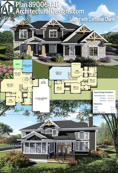 Architectural Designs Craftsman House Plan 890064AH gives you 3300+ heated living space with 4 beds and 3.5 baths. Ready when you are. Where do YOU want to build? #890064AH #adhouseplans #architecturaldesigns #houseplan #architecture #newhome #newconstruction #newhouse #homedesign #dreamhome #dreamhouse #homeplan #architecture #architect #craftsmanhouse #craftsmanplan #craftsmanhome