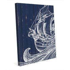 """Click Wall Art Rustic Waves and Boat Graphic Art on Wrapped Canvas Size: 40"""" H x 30"""" W x 1.5"""" D"""