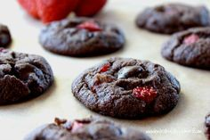 Plan to Eat - Chocolate Strawberry Brownie Cookies (Grain Free) - MarlaJ Paleo Sweets, Paleo Dessert, Low Carb Desserts, Gluten Free Desserts, Delicious Desserts, Dessert Recipes, Cookies Gluten Free, Paleo Cookies, Cookie Recipes