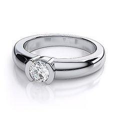 Round Diamond Bezel Engagement Ring in 18k White Gold. (1/2ct)