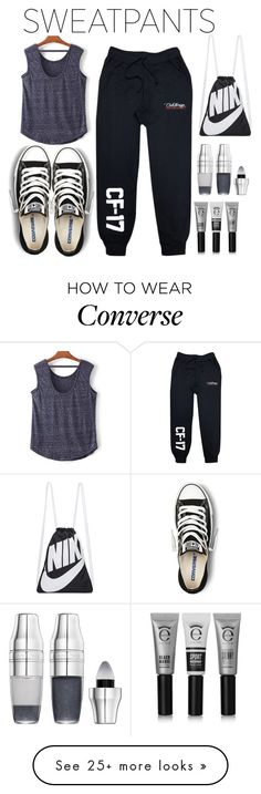 """Sweatpants"" by crochetragrug on Polyvore featuring Converse, Eyeko, Lancôme and NIKE"