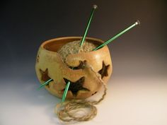 Yarn Bowl  Don't come unraveled or Light Up by LorettaWrayPottery, $34.00
