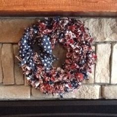 "Americana Rag Wreath. 12"" wreath frame, 2 yds of fabric cut n 2x6"" strips. Tie/knot onto wreath frame filling n all space. Decorate or embellish if so desired.  2-3 hours"