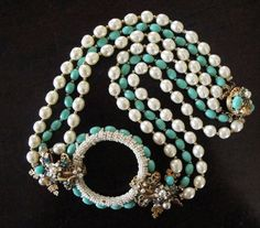Ian St Gielar Stanley Hagler Signed Pearl and Turquoise Necklace