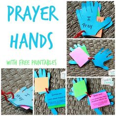 DIY prayer hands for kids -- I put pictures of simple items preschoolers will recognize since they are too young to read.