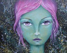 Original Mixed Media Fantasy Mermaid Girl Painting By Sujati Art Studio