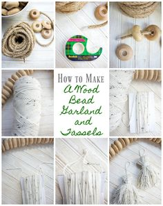 How to Make a Wood Bead Garland With Tassels - 2 Bees in a Pod How to make a wood bead garland with tassels. Make a tassel with yarn. Home decor magazines and specialty shops are full of Wood Bead Garland, Diy Garland, Beaded Garland, Hobbies And Crafts, Crafts To Make, Arts And Crafts, Bead Crafts, Decor Crafts, Diy Crafts