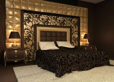 Dark shades look sexy! Tone them down with golden, and the luxuriously romantic bedroom is all yours! It looks powerful and classy and makes room for intimacy