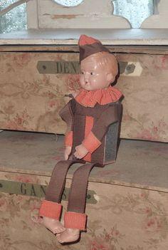 1930s MATCH HOLDER DOLL..Antique Matchbox Striker..Vintage Matches..Collectible Celluloid Figurine..Pierrot Clown Costume..Art Deco 1920s